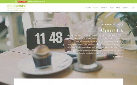 Screenshot of About Page adminassist.co.za - About | AdminAssist - captured May 22, 2018