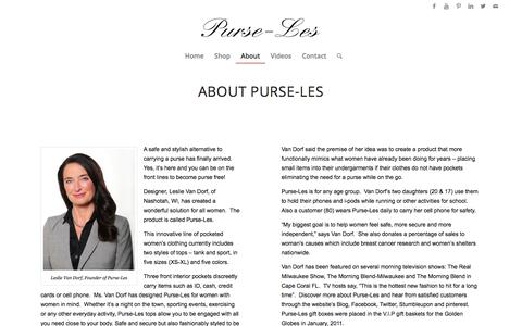 Screenshot of About Page purse-les.com - About » Purse-Les® - captured Dec. 14, 2015