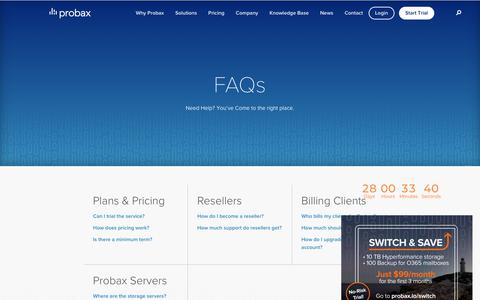 Screenshot of FAQ Page probax.io - Probax Cloud Backup & Storage Help & Guides | Probax - captured Nov. 1, 2018