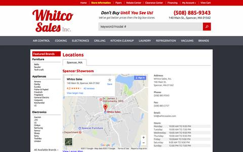 Screenshot of Contact Page Locations Page whitcosales.com - Contact Whitco Sales, Inc. in Massachusetts - captured Nov. 5, 2017