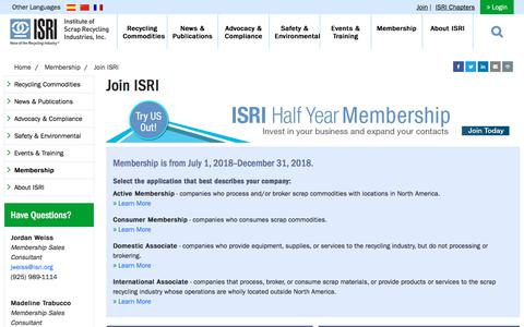 Screenshot of Signup Page isri.org - Join ISRI - captured Sept. 23, 2018