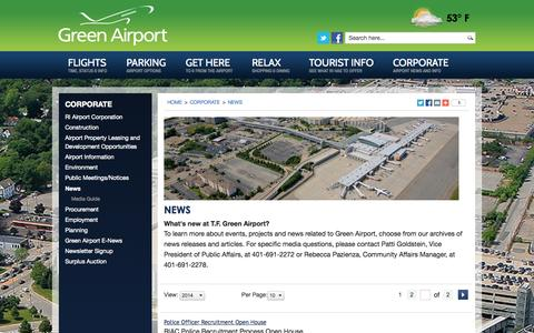 Screenshot of Press Page pvdairport.com - Green Airport  |  News  |  PVD  |  Rhode Island - captured Oct. 26, 2014