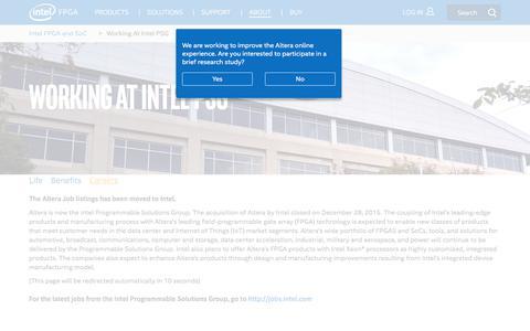 Screenshot of Jobs Page altera.com - Working At Intel PSG - Careers - captured Dec. 18, 2017