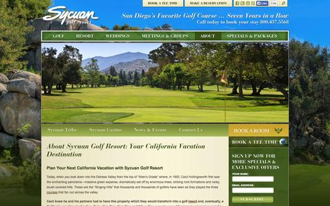 Screenshot of About Page sycuanresort.com - Enjoy Your Next California Vacation with Sycuan Golf Resort - captured Oct. 6, 2014