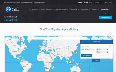 Screenshot of Contact Page Locations Page huntmigration.com - Hunt Migration Team says… - captured July 24, 2018