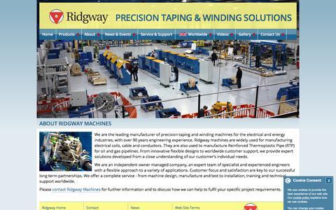 Screenshot of About Page ridgwayeng.com - Precision Taping Machines, Winding Machines - About Ridgway Machines Ltd - captured Oct. 22, 2017