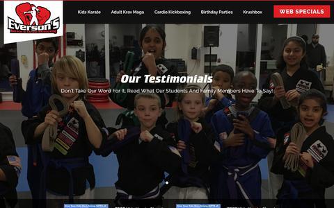 Screenshot of Testimonials Page eversonskarate.com - Testimonials - Everson's Karate - captured July 2, 2018