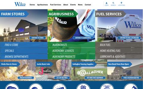 Screenshot of Home Page wilco.coop - Wilco Farm Stores, Agribusiness Agronomy Centers and Fuel Services - captured Sept. 23, 2014