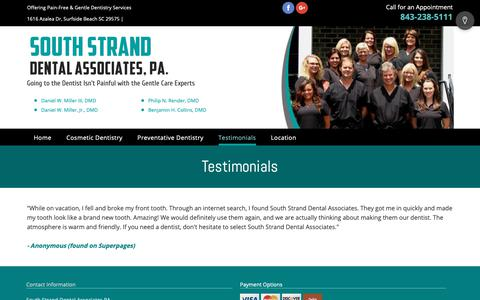 Screenshot of Testimonials Page southstranddental.com - Testimonials - Surfside Beach, SC - South Strand Dental Associates PA - captured Oct. 31, 2018