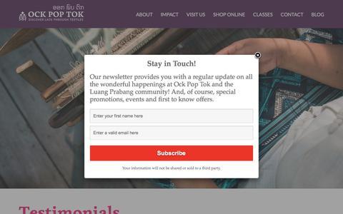 Screenshot of Testimonials Page ockpoptok.com - Press & Reviews | - captured Sept. 21, 2018
