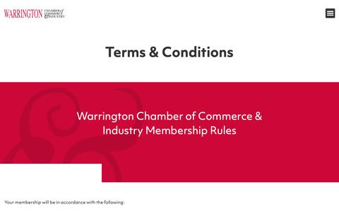 Screenshot of Terms Page warrington-chamber.co.uk - Terms & Conditions - Warrington Chamber of Commerce - captured Oct. 20, 2018