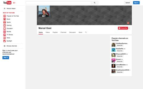 Screenshot of YouTube Page youtube.com - Marcel Oost  - YouTube - captured Oct. 23, 2014