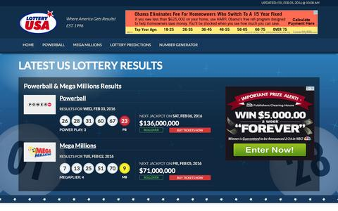 Screenshot of Home Page lotteryusa.com - Lottery Results - captured Feb. 5, 2016
