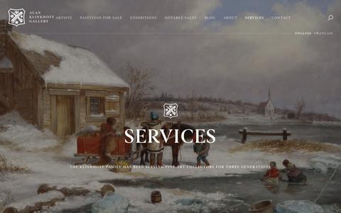 Screenshot of Services Page klinkhoff.ca - Services | Alan Klinkhoff Gallery - captured Sept. 26, 2018