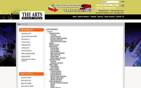 Screenshot of Site Map Page theartsmusicstore.com - online instrument shopping, music store online - captured Oct. 7, 2014