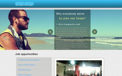 Screenshot of Jobs Page wehostels.com - iOS Mobile Developer (Bogota) | WeHostels - captured July 18, 2014