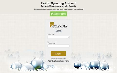 Screenshot of Signup Page Login Page olympiabenefits.com - Health Spending Account for small business owners - captured Dec. 19, 2016