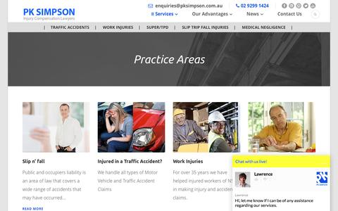 Screenshot of Services Page pksimpson.com.au - Practice Areas - Compensation Personal Injury And More - PK Simpson - captured Oct. 16, 2016