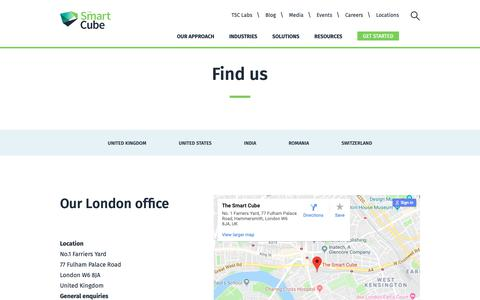 Screenshot of Contact Page Locations Page thesmartcube.com - Find Our Offices Worldwide | The Smart Cube - captured Oct. 19, 2018