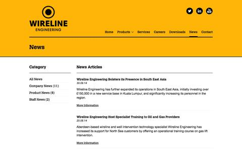 Screenshot of Press Page wireline-engineering.com - Latest Wireline News - Wireline Engineering - captured Oct. 7, 2014