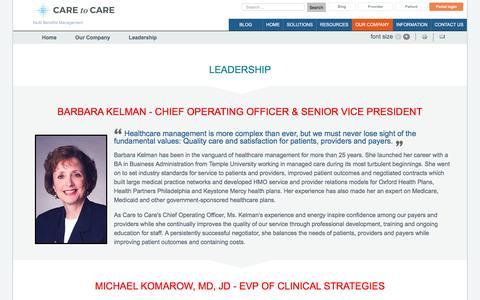 Screenshot of Team Page caretocare.com - Leadership - Multi Specialty Benefit Management Company | - captured Jan. 25, 2016