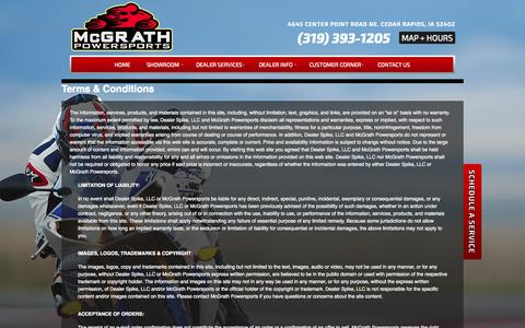 Screenshot of Terms Page mcgrathpowersports.com - Terms | McGrath Powersports | Cedar Rapids Iowa - captured Sept. 30, 2014