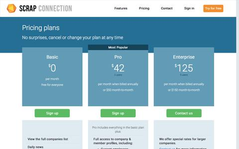 Screenshot of Pricing Page scrapconnection.com - Scrap Connection - pricing - captured May 9, 2017
