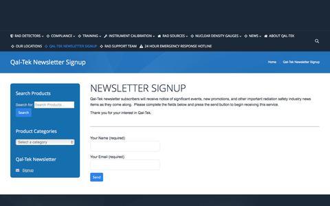 Screenshot of Signup Page qaltek.com - Qal-Tek | Qal-Tek Newsletter Signup - Qal-Tek - captured Oct. 30, 2016