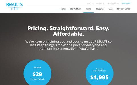 Screenshot of FAQ Page Pricing Page results.com - PRICING || RESULTS.com | Results - captured Oct. 25, 2014