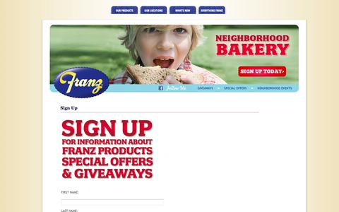 Screenshot of Signup Page franzbakery.com - Sign Up | Franz Bakery - captured Oct. 6, 2014