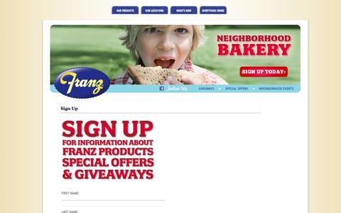 Screenshot of Signup Page franzbakery.com - Sign Up   Franz Bakery - captured Oct. 6, 2014