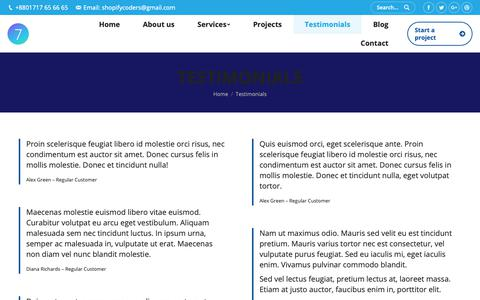 Screenshot of Testimonials Page shopifycoder.com - Testimonials – Shopify Expert - captured Feb. 14, 2019