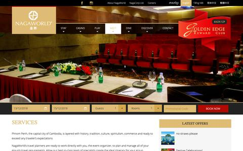 Screenshot of Services Page nagaworld.com - Meeting and Event Services - captured Dec. 12, 2018