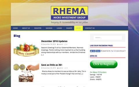 Screenshot of Blog rhema.co.ke - Blog – Rhema Micro Investment Group - captured Jan. 25, 2017