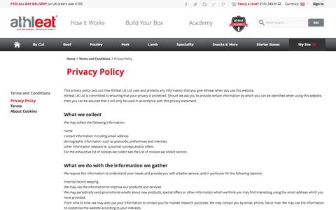 Screenshot of Privacy Page athleat.co.uk - Privacy Policy - captured Feb. 6, 2016