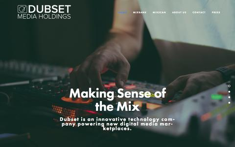 Screenshot of Home Page dubset.com - Dubset.com: Technology Solutions for DJs, Artists, Labels & Music Services - captured Aug. 11, 2015