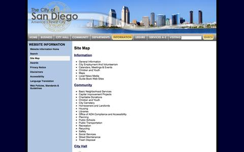 Screenshot of Site Map Page sandiego.gov - Site Map | City of San Diego - captured Sept. 18, 2014