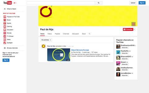 Screenshot of YouTube Page youtube.com - Paul de Nijs  - YouTube - captured Oct. 23, 2014