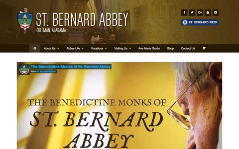 Screenshot of Home Page stbernardabbey.com - St. Bernard Abbey - Cullman, Alabama - captured Nov. 2, 2017