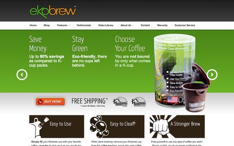 Screenshot of Home Page ekobrew.com - Reuseable K Cup Filter | Ekobrew - captured Oct. 2, 2014