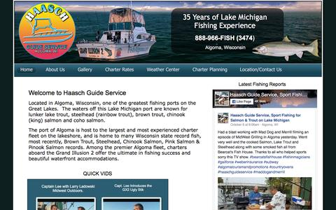 Screenshot of Home Page fishalgoma.com - Haasch Guide Service, Algoma fishing charter, Algoma fishing services, Lake Michigan fishing, lake Michigan charter, fishing charter - captured Oct. 17, 2016