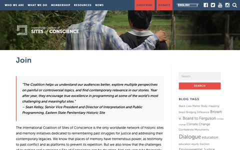 Screenshot of Signup Page sitesofconscience.org - Join – Sites of Conscience - captured Oct. 12, 2018