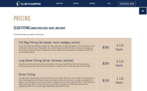 Screenshot of Pricing Page clubchampiongolf.com - Pricing | Club Champion is the #1 premium golf club fitter - captured Aug. 3, 2017