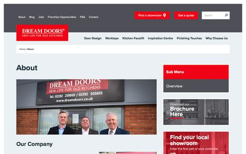 Screenshot of About Page dreamdoors.co.uk - Company History - Dream Doors - captured Jan. 19, 2018