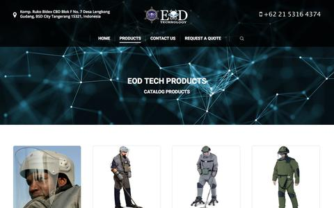 Screenshot of Products Page eod-technology.com - Products - EOD Technology - captured Sept. 26, 2018