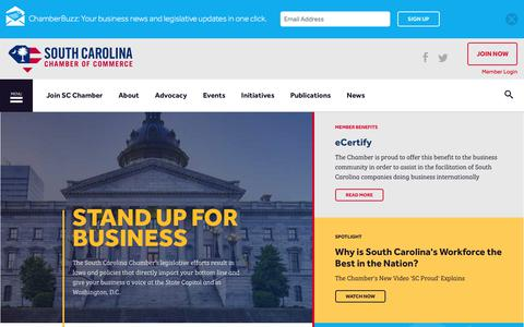 Screenshot of Home Page scchamber.net - South Carolina Chamber of Commerce - captured Oct. 23, 2017