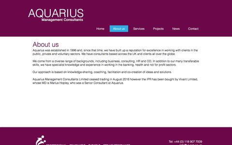 Screenshot of About Page aquariusconsultants.com - About Aquarius Management Consultants - captured Nov. 21, 2016