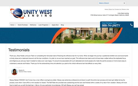 Screenshot of Testimonials Page uwlending.com - Unity West Lending - Testimonials - captured Oct. 27, 2017