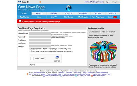 Screenshot of Signup Page onenewspage.com - One News Page user account registration - captured June 10, 2018