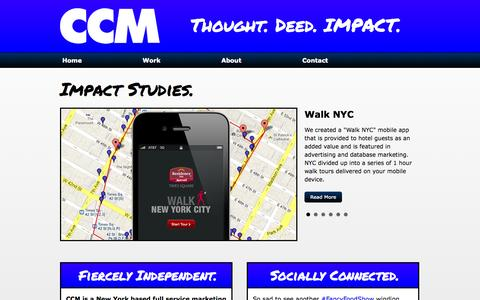 Screenshot of Home Page ccmthinkimpact.com - CCM - Thought. Deed. IMPACT. | New York City Full Service Marketing Agency - captured Jan. 23, 2015